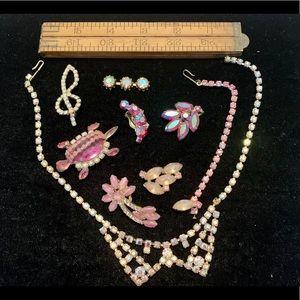 Vintage pink rhinestone craft jewelry damaged